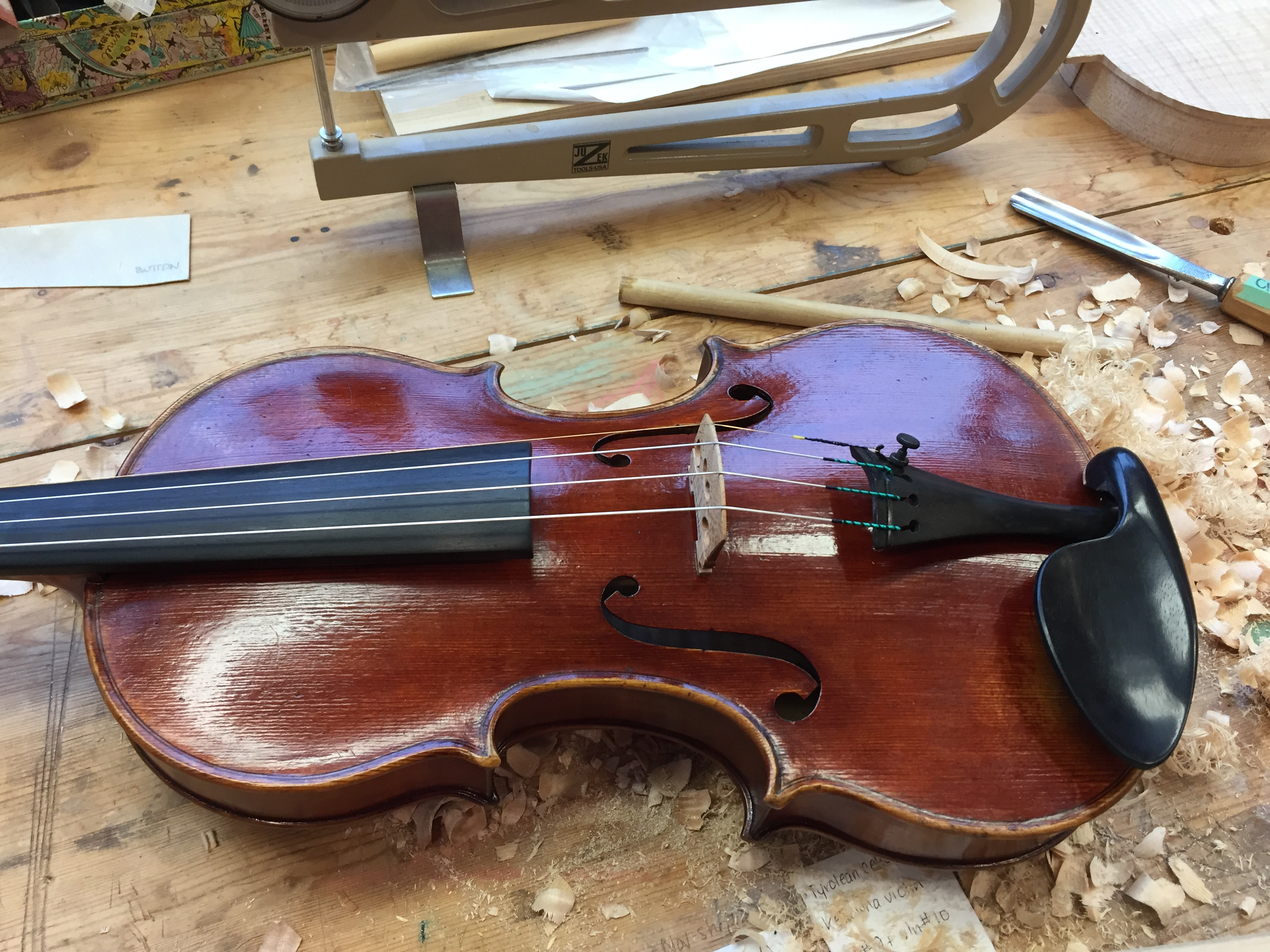 Laura Wallace violin made from Sitka spruce and Big Leaf Maple. Polished and ready to play.